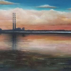 Poolbeg generating station - poolbeg chimneys pigeon house oil painting - 20 x 16 with gold leaf - irish art