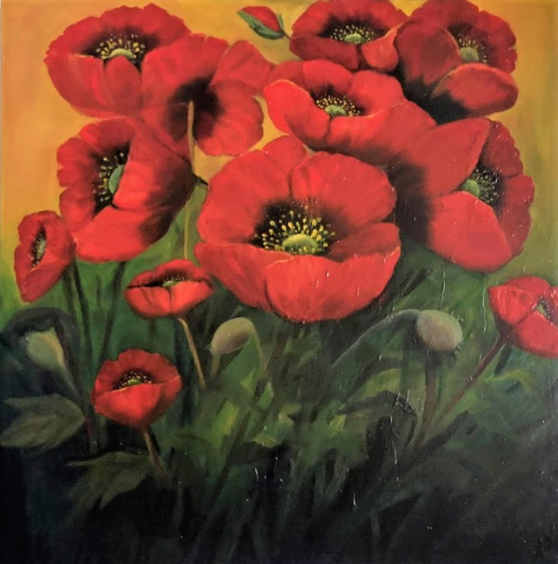 Seeing Red for Christmas Garden Poppies 70x70 cms oil