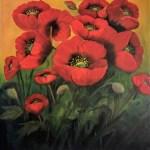 Garden Poppies 70x70 cms oil