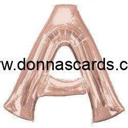 rose gold letter a large 34 inch foil balloon