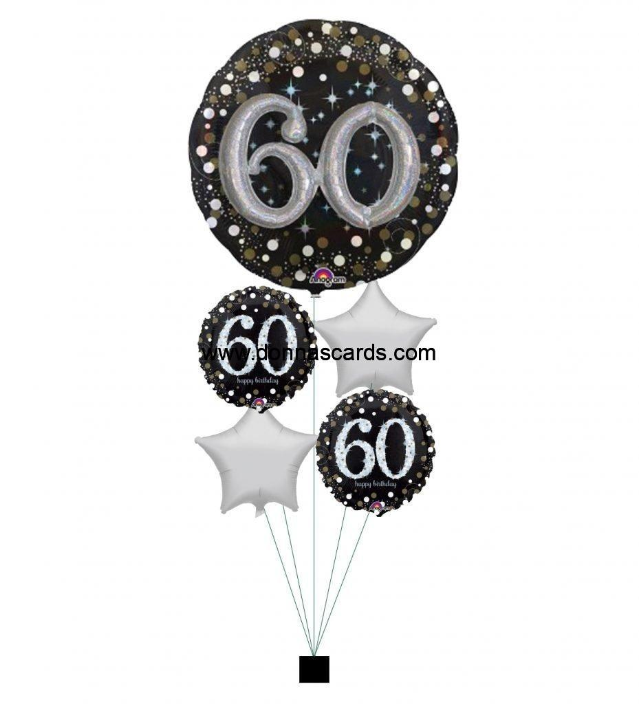 Giant Black Gold Silver Sparkle 60th Birthday Bouquet