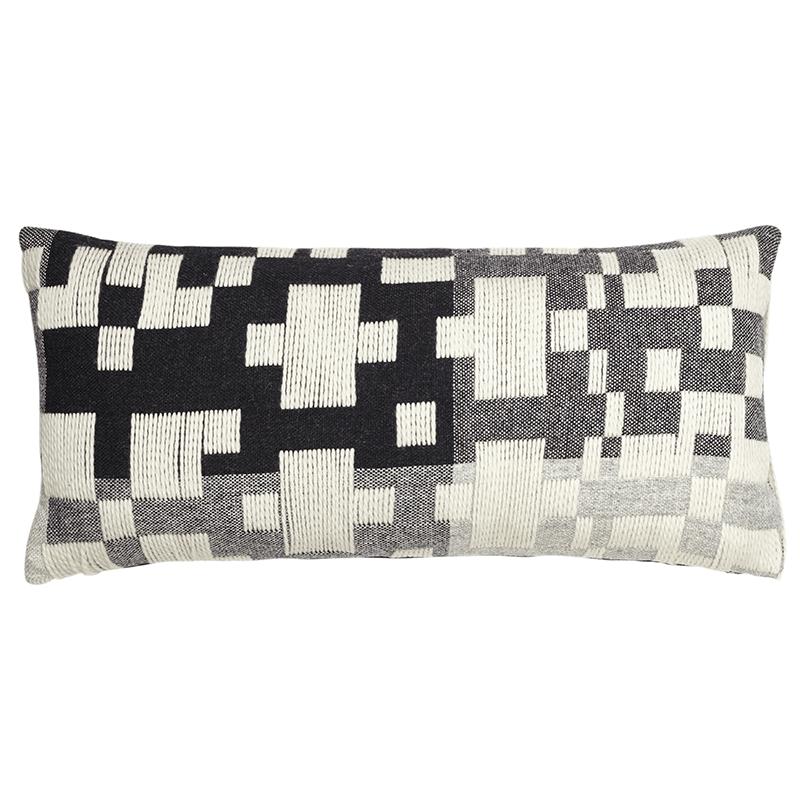 pennan long woven cushion black white