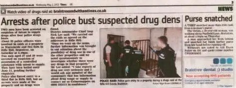 The full police raid story at Rifle Hill, Braintree, Essex.