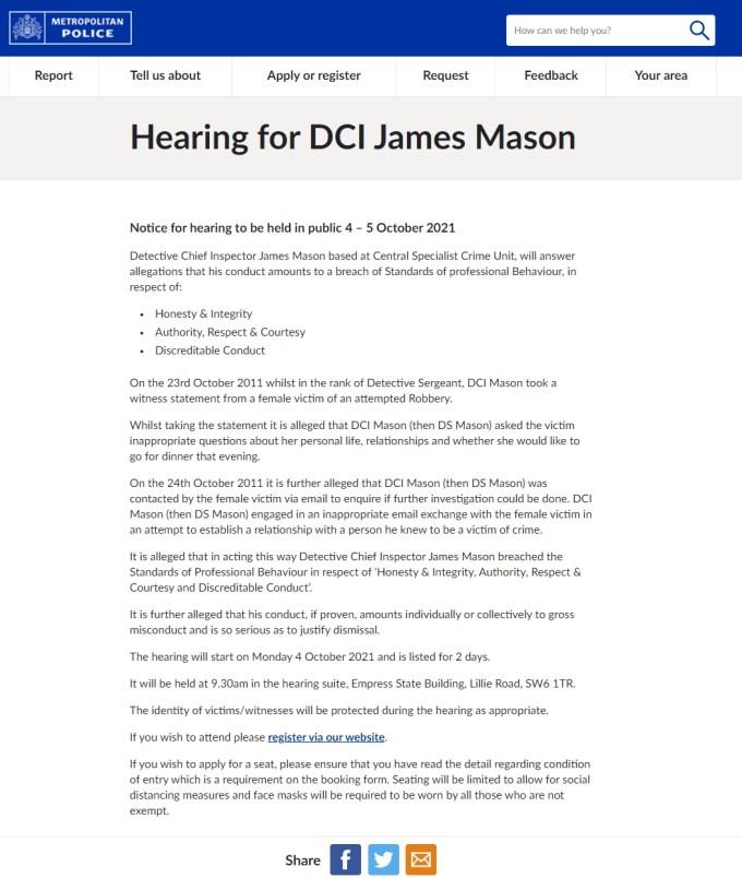 Metropolitan Police Disciplinary Hearing Notice for DCI James Mason