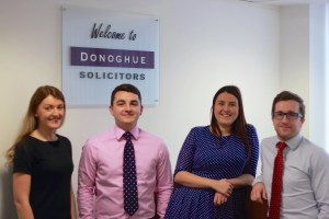 Donoghue Solicitors have been shortlisted for the 2015 Liverpool Law Society Legal Awards. Solicitor Director Kevin Donoghue,  is pictured here with some of his team including wife Stephanie, Daniel Fitzsimmons, and Hannah Bickley.