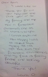 Hand-written testimonial from Laura D, a client of Donoghue Solicitors.
