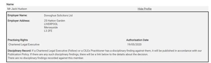 Jack Hudson, FCILEx directory listing on the CILEx website.