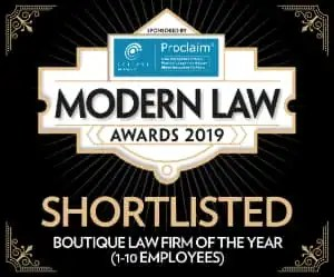 Modern Law Awards logo for Boutique Law Firm of the Year