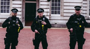 Photo of police officers holding Tasers.