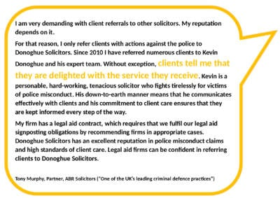 Quote Testimonial from Tony Murphy, solicitor, about client referrals from other solicitors.