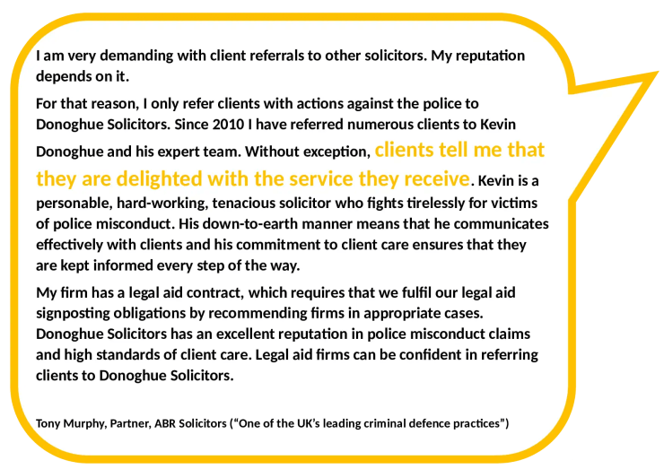 Client Referrals From Other Solicitors Actions Against Police