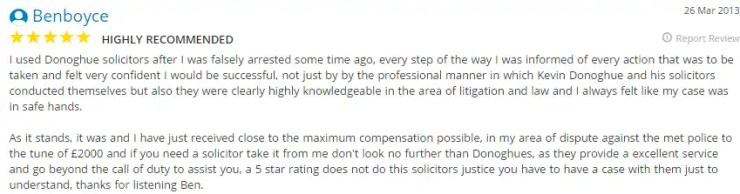 Donoghue Solicitors Liverpool got this Yell.co.uk testimonial from Ben Boyce.
