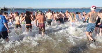 The 18th Annual Monument Beach polar plunge.