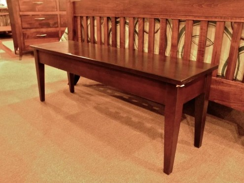 Shallow Storage Bench Wood Species Shown: Brown Maple Fully Customizable. Please contact us for pricing details.