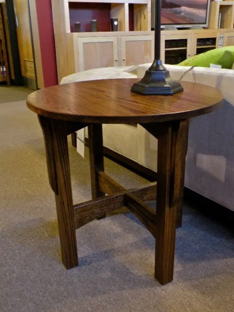 Round Mission End Table Wood Species Shown: Oak Fully Customizable. Please contact us for pricing details.