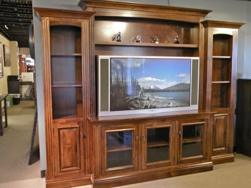 Entertainment Center with Glass Doors on Base Fully Customizable. Please contact us for pricing details.