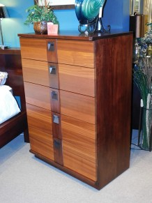 "Marquette 5-Drawer Chest of Drawers Wood Species Shown: Brown Maple / Ribbon Sapele Dimensions: 52.5""H x 36""W x 20.25""D Price As Shown*: $2,265 Fully Customizable *Price of piece is not inclusive of current sales. Please see our Pricing page for more details."