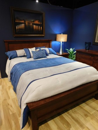 Cabin Creek Bed with Distressing Wood Species Shown: Rustic Cherry Size: Queen Fully Customizable. Please contact us for pricing details.