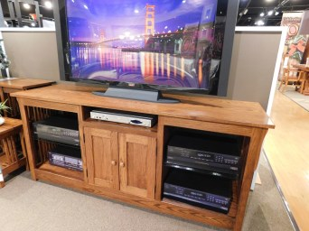 "68"" Mission TV Console Wood Species Shown: Oak Dimensions: 68""W x 20""D x 29.5""H Price As Shown*: $1,455 Fully Customizable. *Price of piece not inclusive of current sales. Please see our Pricing page for more details."