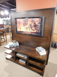 "Parkwood Entertainment Center with High Back Wood Species Shown: Brown Maple Dimensions: 65""W x 31.75""D x 74.75""H Price As Shown*: $1,738 Fully Customizable. *Price of piece not inclusive of current sales. Please see our Pricing page for more details."