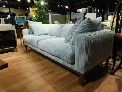 Butler Sofa with Standard Down Blend Cushions Fabric Shown: 16337-49 Seafoam Pillow Fabric: 29877-34 Ice Blue Partially Customizable. Please contact us for pricing details.