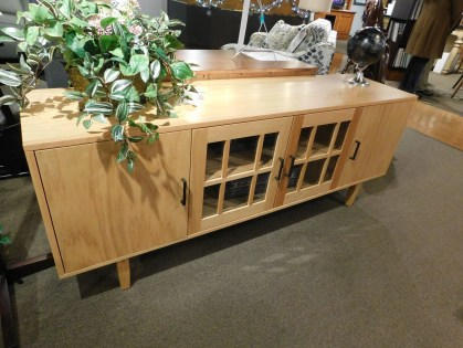 "Contemporary TV Console with Flat Panel Doors and Glass Grill Doors Wood Species Shown: Oak Dimensions: 72""W x 18""D x 28""H Price As Shown*: $1,612 Fully Customizable. *Price of piece not inclusive of current sales. Please see our Pricing page for more details."