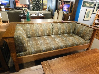 Mission Sofa with Slats Wood Species Shown: Quartersawn White Oak Fabric Shown: #7991 Q Price As Shown*: $3,068 Partially Customizable. *Price of piece not inclusive of current sales. Please see our Pricing page for more details.