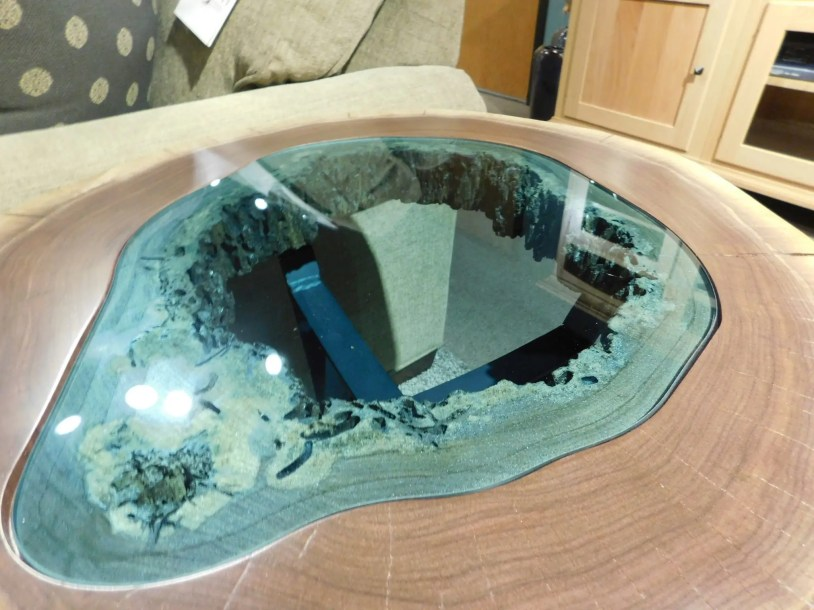 Round Lake End Table with Teal Glass Inlay and Metal Base Detail One of a Kind. Please contact us for pricing details.