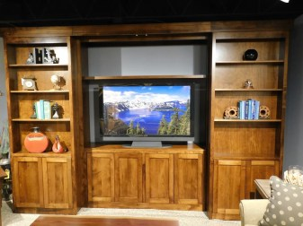 "Library Collection Sliding Bookcase Entertainment Center Wood Species Shown: Brown Maple Dimensions: 132""W x 25.5""D x 92""H Fully Customizable. Please contact us for pricing details."