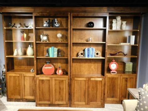 "Library Collection Sliding Bookcase Entertainment Center Wood Species Shown: Brown Maple Dimensions: 132""W x 25.5""D x 92""H Price As Shown*: $6,710 Fully Customizable. *Price of piece not inclusive of current sales. Please see our Pricing page for more details."