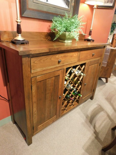 """Plank Top Buffet with Open Wine Storage Wood Species Shown: Rustic Cherry Dimensions: 61""""W x 19""""D x 48""""H Fully Customizable. Please contact us for pricing details."""