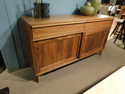 """Mid-Century Modern Buffet with Undermount Drawer Slides Wood Species Shown: Walnut Dimensions: 66""""W x 18.75""""D x 36""""H Fully Customizable. Please contact us for pricing details."""