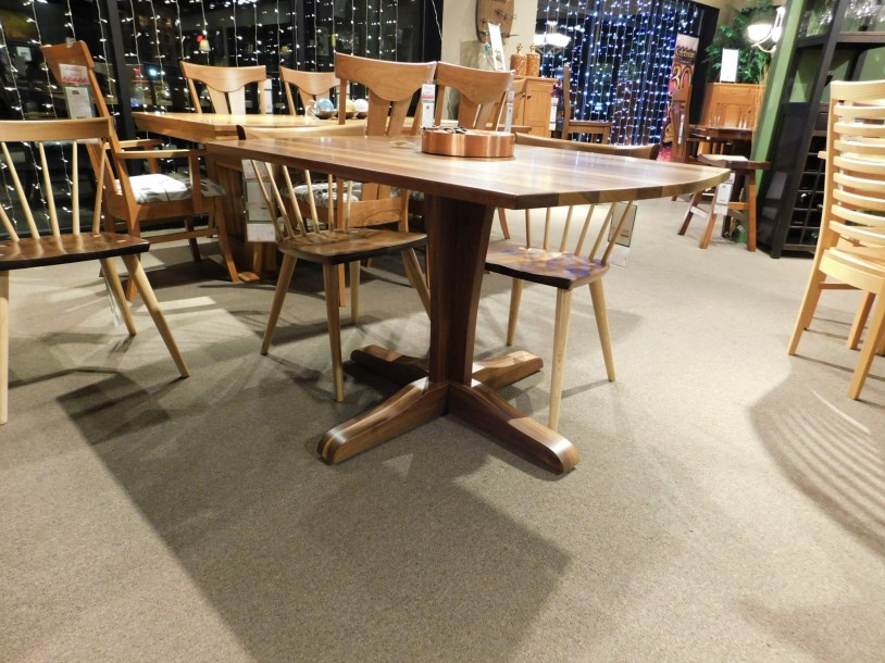 Vilas Single Pedestal Table   Bradford Chairs Vilas Solid Top Single  Pedestal Table Wood Species Shown. Dining Room Furniture   Don s Home Furniture Madison  WI