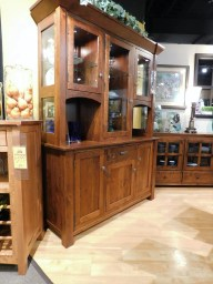 "3-Door Manor House Hutch with Mirror Back, Touch Lights and Beveled Glass Wood Species Shown: Rustic Cherry Dimensions: 60""W x 20""D x 80""H Price As Shown*: $4,758 Fully Customizable. *Price of piece not inclusive of current sales. Please see our Pricing page for more details."