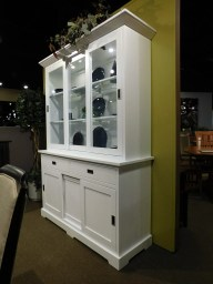 """Highland 3-Door 2-Drawer Hutch with Inset Hardware Wood Species Shown: Brown Maple in White Paint Dimensions: 60""""W x 20""""D x 81""""H Price As Shown*: $4,440 Fully Customizable. *Price of piece not inclusive of current sales. Please see our Pricing page for more details."""