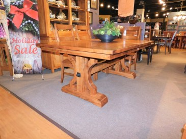 """Barstow Table with 1 16"""" Self-Storing Leaf, 1.38"""" Thick Top with Sawscuts & Planked Top Wood Species Shown: Brown Maple Dimensions: 48""""W x 88""""L (open) Fully Customizable. Shown with Carlisle Chairs. Please contact us for pricing details."""
