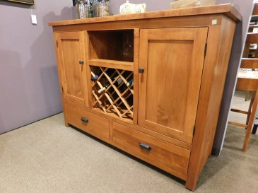 """Settlers Wine Server without Pullouts and with Roughsawn Top Wood Species Shown: Brown Maple Dimensions: 56""""W x 18.5""""D x 42""""H Fully Customizable. Please contact us for pricing details."""