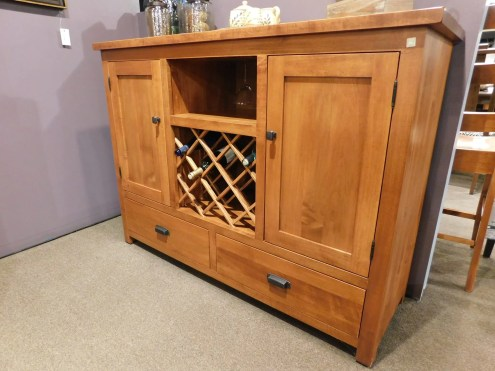 "Settlers Wine Server without Pullouts and with Roughsawn Top Wood Species Shown: Brown Maple Dimensions: 56""W x 18.5""D x 42""H Price As Shown*: $2,280 Fully Customizable. *Price of piece not inclusive of current sales. Please see our Pricing page for more details."