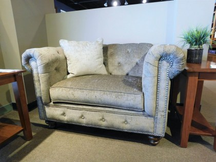 "Philip Chair and A Half and Pillow Fabric Shown: Gr. 15 #2664 Xanadu Cafe Pillow Fabric Shown: Gr. 15 #2665 Xanadu Putty Special Feature: 3/8"" Pewter Nailhead Price As Shown*: $1,799 Partially Customizable. *Price of piece not inclusive of current sales. Please see our Pricing page for more details."