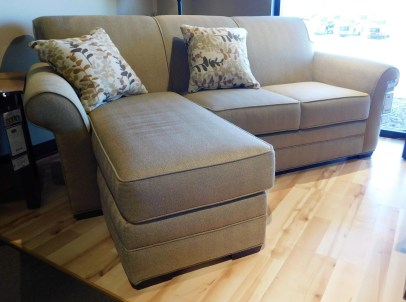 Bailey Chaise Sofa with Chaise Ottoman and 2 Pillows Fabric Shown: Gr. 15 Milan Latte Pillow Fabric: #2066 Habitat Sahara Price As Shown*: $2,325 Fully Customizable. *Price of piece not inclusive of current sales. Please see our Pricing page for more details.