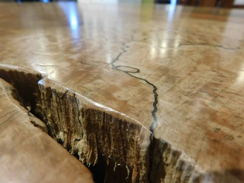 "Spalted Maple Round Slab Coffee Table on Redwood Stump Base Wood Species Shown: Spalted Maple / Reclaimed Redwood Stump Dimensions: Roughly 40"" Round x 21""H One of A Kind! Please contact us for pricing details."
