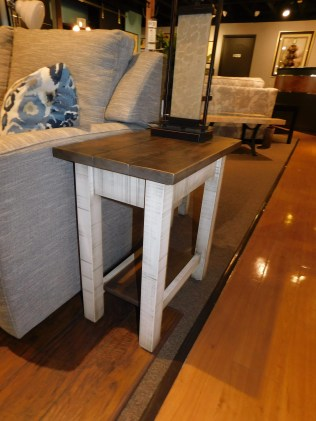 "Urbana Small End Table, Roughsawn with Plank Top Wood Species Shown: Brown Maple Dimensions: 14""W x 22""D x 24.5""H Price As Shown*: $475 Fully Customizable. *Price of piece not inclusive of current sales. Please see our Pricing page for more details."