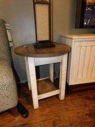 "Urbana Round End Table, Roughsawn with Plank Top Wood Species Shown: Brown Maple Dimensions: 22"" Round x 24.5""H Price As Shown*: $575 Fully Customizable. *Price of piece not inclusive of current sales. Please see our Pricing page for more details."