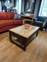"Village Manor Coffee Table Wood Species Shown: Wormy Maple / Rustic Walnut Dimensions: 25""D x 40""W x 18""H Price As Shown*: $950 Fully Customizable. *Price of piece not inclusive of current sales. Please see our Pricing page for more details."