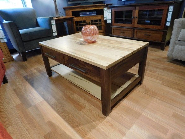 """Village Manor Coffee Table Wood Species Shown: Wormy Maple / Rustic Walnut Dimensions: 25""""D x 40""""W x 18""""H Fully Customizable. Please contact us for pricing details."""