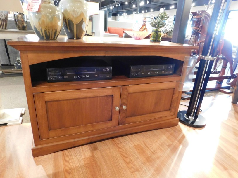 """Shaker TV Stand with Wood Doors and Return Moulding Wood Species Shown: Brown Maple Dimensions: 51""""W x 18""""D x 30""""H Fully Customizable. Please contact us for pricing details."""