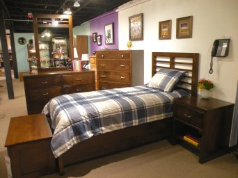 Highland Park Bedroom Wood Species Shown: Brown Maple Fully Customizable. Please contact us for pricing details.