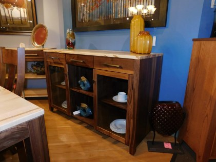 """Village Manor Server Wood Species Shown: Wormy Maple / Rustic Walnut Dimensions: 58.5""""W x 22""""D x 37""""H Fully Customizable. Please contact us for pricing details."""