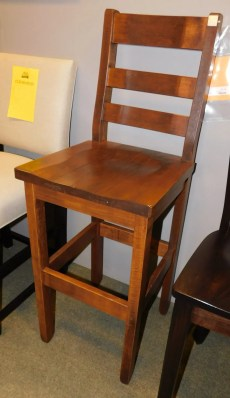 """Rustic Ladderback Stationary Side Bar Chair Wood Species Shown: Rustic Wormy Maple Dimensions: 30""""H Fully Customizable. Please contact us for pricing details."""