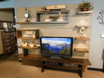 Stilwell Entertainment Wall Wood Species Shown: Brown Maple Fully Customizable. Please contact us for pricing details.